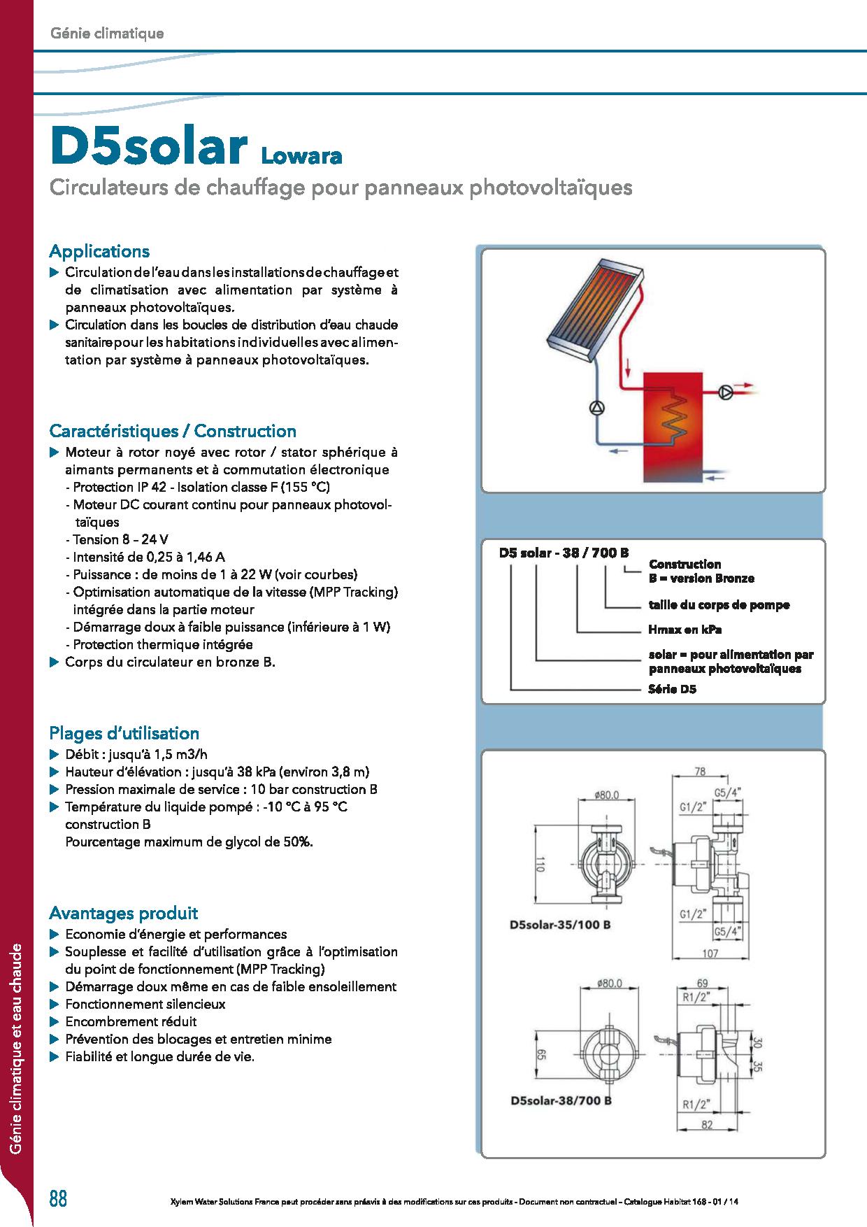 Puissance Panneau Photovoltaique en ce qui concerne circulateur panneau photovoltaique d5 solar lowara